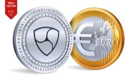 Pas mentionné ailleurs Euro pièce de monnaie pièces de monnaie 3D physiques isométriques Devise de Digital Cryptocurrency Les piè Illustration de Vecteur