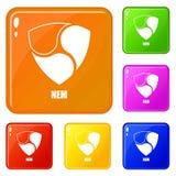 Pas mentionné ailleurs les icônes ont placé la couleur de vecteur illustration de vecteur