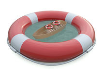 PAS-Rettungsgürtel und Boot Stockbild