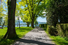Pas ruchu w parkowy prowadzić Lausanne jezioro Fotografia Royalty Free