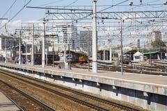 Pasażerski estradowy Kursky kolejowy terminal jest jeden dziewięć głównych stacj kolejowych w Moskwa, Rosja zdjęcie royalty free