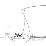 Pasażerski liniowiec żeglujący tropikalna wyspa Obraz Royalty Free