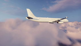 Pasażerski samolot lata above chmury zbiory