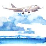Pasażerski samolot w niebieskim niebie i chmurze lata, strumienia, samolot ląduje nad morza, podróży lub wakacje pojęciem, ręka ilustracja wektor