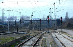 Pasażery czeka pociąg w Sofia Bułgaria, Nov 25, 2014 Obraz Stock