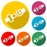 Pasa Bezpieczeństwa lub Zbawczego paska ikona, kolor ikona z długim cieniem Obraz Royalty Free