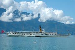Pasażerski prom na Geneve jeziorze w Szwajcaria Zdjęcie Royalty Free