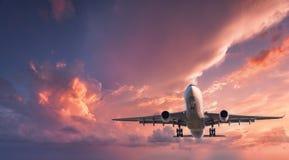 Pasażerski samolot lata w czerwonym niebie Zdjęcie Stock