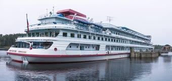 Pasażerskiego statku ` Konstantin Simonov ` wyspa Valaam, republika Karelia Federacja Rosyjska 26 2017 Sep Obrazy Stock