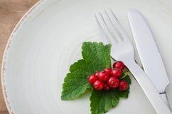 Pasa roja orgánica madura fresca en placa Imágenes de archivo libres de regalías