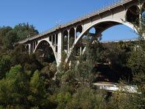 Pasadena Bridge. Historic Colorado Street bridge in Pasadena California Stock Photo