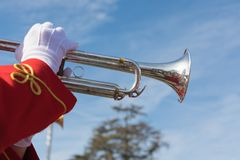 Isolated trumpet closeup parade. PASADENA, CALIFORNIA - JANUARY 1, 2018: 129th Rose Parade, a greeting to the world on the first day of the year. The pageantry royalty free stock photography