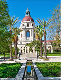 Pasadena City Hall and reflecting pool. A side of Pasadena City Hall not often seen by visitors to the civic center. a beautiful reflecting pool lined by palm Stock Image