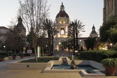 The Pasadena City Hall in Southern California. The Pasadena City Hall in Los Angeles county is a landmark listed in the National Register of Historic Places royalty free stock photos