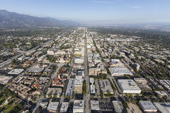 Pasadena Colorado Bl Aerial. Aerial view of Colorado Bl in Pasadena, California Stock Photography