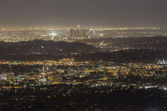 Pasadena and Downtown Los Angeles Night Royalty Free Stock Photography
