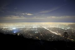 Pasadena Fog. Foggy night above Pasadena and Los Angeles California.  Shot from Echo Mountain in the Angeles National Forest Royalty Free Stock Images