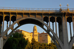 Pasadena Iconic Building and Bridge. Two of the most recognized Pasadena, California landmarks: The building houses the US Ninth Circuit Court of Appeals. The Royalty Free Stock Image