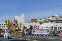 The sun stone style float in the famous Rose Parade Royalty Free Stock Image