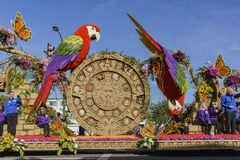 The sun stone style float in the famous Rose Parade Stock Images