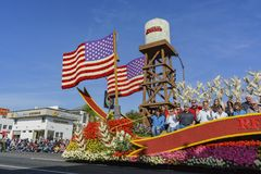 Wrigley Legacy Award float in the famous Rose Parade. Pasadena,  JAN 1: Wrigley Legacy Award float in the famous Rose Parade - America's New Year Celebration on Stock Photo