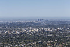 Pasadena and Los Angeles Aerial. Pasadena and Los Angeles cityscape aerial Stock Images