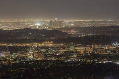 Pasadena och i stadens centrum Los Angeles natt Royaltyfri Fotografi