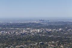 Pasadena och Los Angeles antenn Arkivbilder
