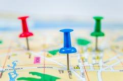 Pasadores en el mapa 4 Imagen de archivo libre de regalías