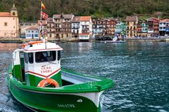 Small Ferry Boat. PASAIA, SPAIN - MARCH 16: Small passenger ferry that runs between Pasaia and Pasai Donibane in Spain on March 16, 2018 royalty free stock image