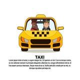 Pasajero de la mujer de And African American del conductor del icono del servicio del taxi en coche amarillo del automóvil del ta Foto de archivo libre de regalías