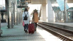 Pasajeros de la vista posterior con las maletas que caminan en la plataforma del ferrocarril Tres mujeres con caminar de las male almacen de video
