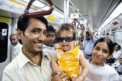 Pasajeros del metro de Delhi Imágenes de archivo libres de regalías