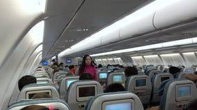 Pasajeros en el avión almacen de metraje de vídeo