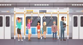 Pasajeros en transporte público de la ciudad moderna del coche de subterráneo, tranvía subterráneo de la gente ilustración del vector