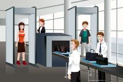 Pasajeros que caminan a través de control de seguridad stock de ilustración