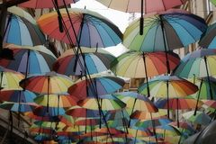 Street covered with colored umbrellas in Bucharest in Bucharest, Romania Royalty Free Stock Photo