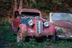 Pasanauri Georgia - 06 10 2018: Gamla som ut rostas, skrotar retro bilar som har ?vergetts i skogtr?n arkivbild