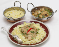 Pasanda chicken curry with serving kadai bowls Stock Photography