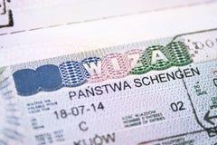 Pasaporte con cierre de la visa de Shengen de la unión europea Imagen de archivo