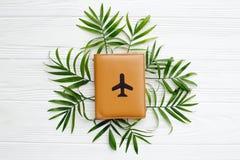 Pasaporte con el avión en hojas de palma verdes en el backgro de madera blanco Imágenes de archivo libres de regalías