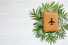 Pasaporte con el avión en hojas de palma verdes en el backgro de madera blanco Fotos de archivo