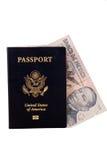 Pasaporte con el dinero mexicano Imagen de archivo libre de regalías