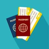 Pasaporte con el icono plano de los boletos aislado internacional Ilustración del vector Fotografía de archivo libre de regalías