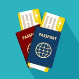Pasaporte con el icono plano de los boletos aislado internacional Ilustración del vector Fotos de archivo