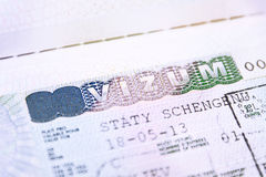 Pasaporte con la visa de Shengen de la unión europea Fotografía de archivo
