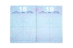 Pasaporte con las paginaciones de la visa Fotografía de archivo libre de regalías