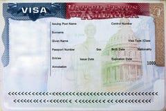 Pasaporte con visa de los E.E.U.U. Fotografía de archivo libre de regalías