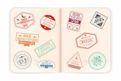 Pasaporte del vector con los sellos de visa Abra las páginas del pasaporte stock de ilustración