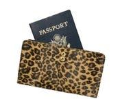 Pasaporte en el monedero de Womenâs Fotos de archivo